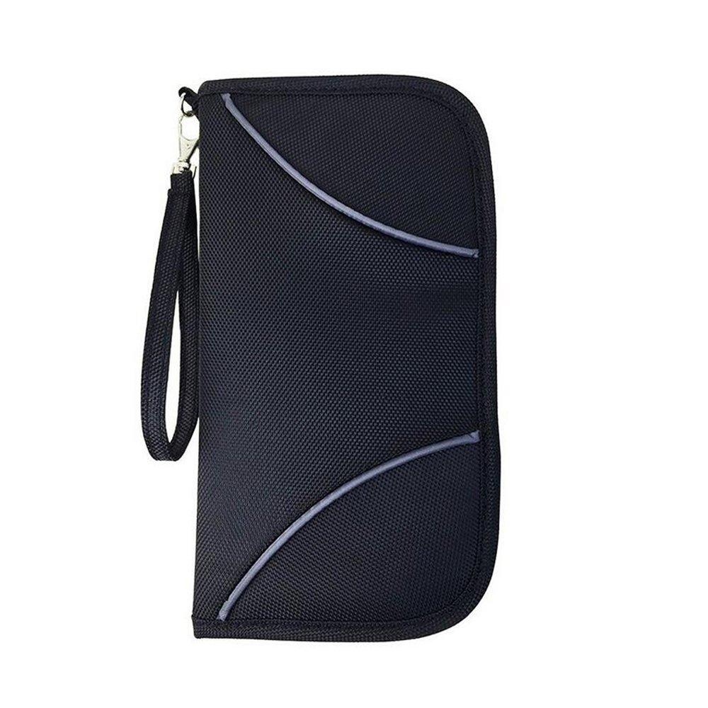 Portefeuille de blocage RFID, ONEGenug Porte Carte RFID Porte Passeport, Organisateur de Documents, Porte Monnaie, pour Passeport / Pièce d'identité / Carte / Billet / Document (noir) Reisepasshülle