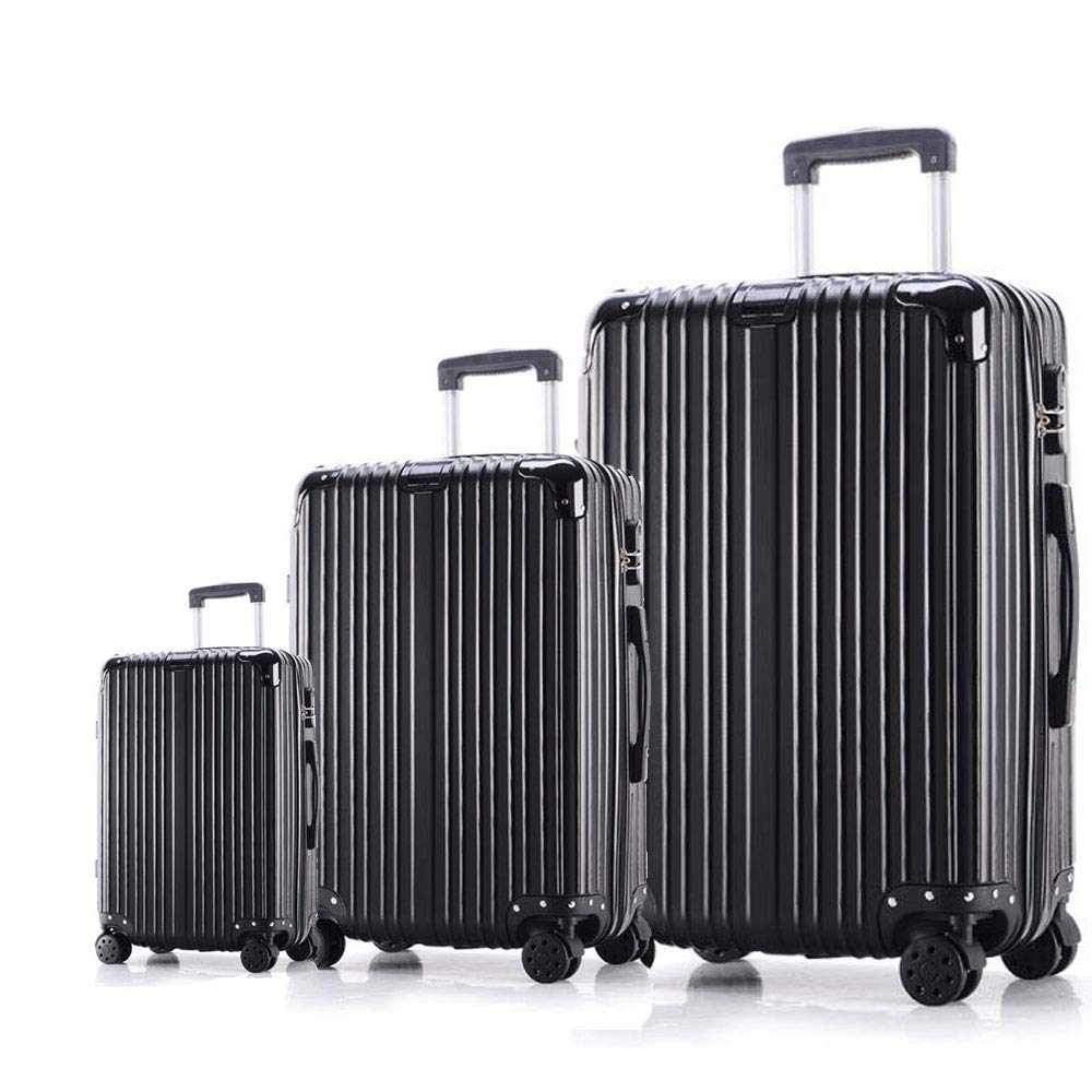 Rose Gold, 20 inch+24 inch+28 inch SAHASAHA Luggage 3 Piece Set Suitcase Spinner Hardshell Lightweight