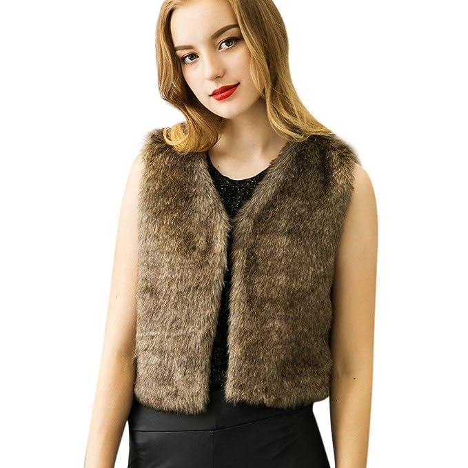 bfe04b6c7e Saoye Fashion Canottiera di Pelliccia Donna Smanicato V-Neck ...