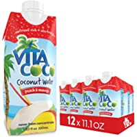 Vita Coco Coconut Water, Peach Mango - Naturally Hydrating Electrolyte Drink - Smart Alternative to Coffee, Soda, and Sports Drinks - Gluten Free - 11.1 Ounce (Pack of 12)
