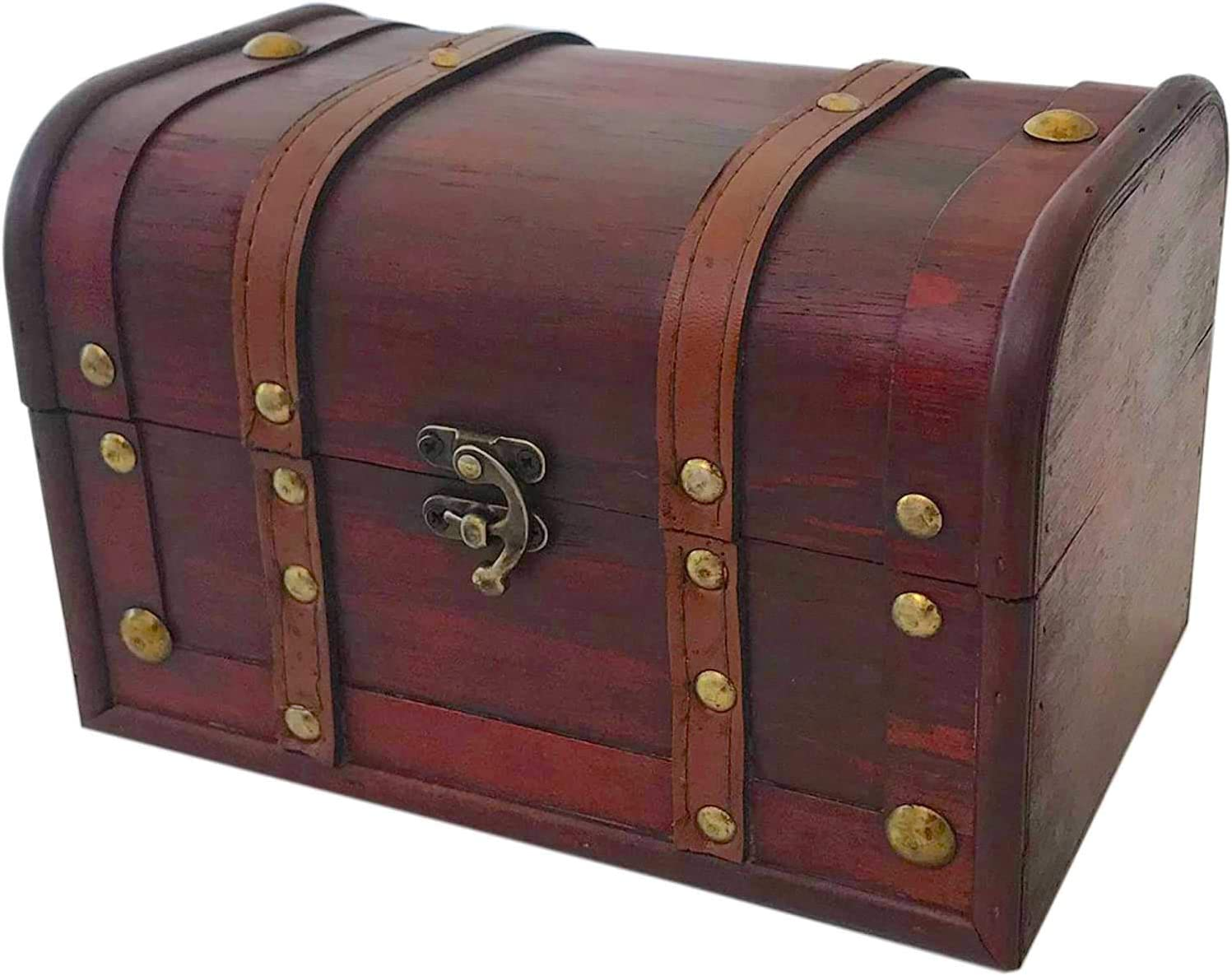 Wood and Leather Treasure Chest Box Decorative Storage Chest Box with Lock | Handcrafted Decorative Boxes with Lids for Home Decor | Wood Box with Lid | Small Chest | Wooden Stash Box