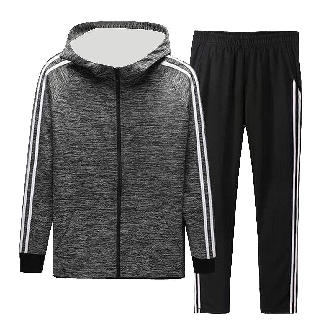 Lightgrey Jofemuho Men's Fleece Hoodie Jacket Jogger Pants Two Piece Outfits Stripe Tracksuits Sets