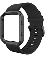 Fitbit Blaze Bands, Simpeak Silicone Replacement Band Strap with Black Frame Case for Fit bit Blaze Smart Fitness Watch, Large, Black