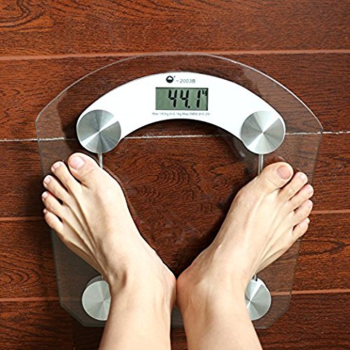 Geometric Digital Body Weight Bathroom Scale for Tracking Weight High Precision 150kg/7kg, Clear