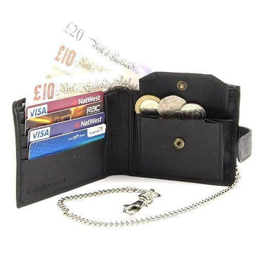 cartera cadena cuero negro lujo alta calidad hombres Emporium 172: Amazon.es: Zapatos y complementos