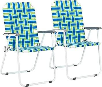 VINGLI Patio Folding Web Lawn Chair Set, 2 Pack Outdoor Beach Chair Portable Camping Chair, Webbed Folding Chair for Yard, Garden (Blue)