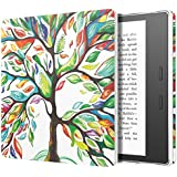 MoKo Case for All-New Kindle Oasis (9th Generation, 2017 Release) - Slim Fit Premium PU Leather Protective Cover with Auto Wake/Sleep for Amazon Kindle Oasis E-Reader Case, Lucky Tree