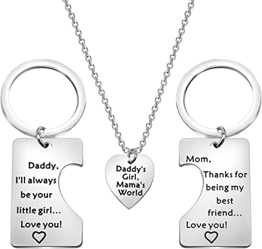 3PCS//Set Heart Puzzle Necklace Pandant Family Daughter Mother Jewelry Gift
