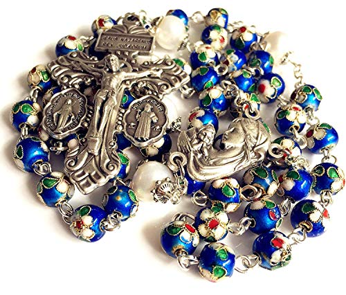 elegantmedical Handmade Nice Blue Cloisonne & 10mm Pearl Beads Rosary Necklace Italy Parden Cross Crucifix Catholic Gift