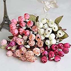 Riverbyland Artificial Flowers Bunches of 5 Assorted Colors Camellia Bud Valentine's Day Gifts