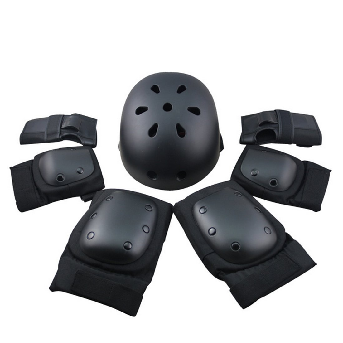 FenglinTech Protective Gear, 7Pcs Set Sport Safety Protective Gear Elbow Wrist Knee Pads and Helmet Guard for Skating Riding - Black