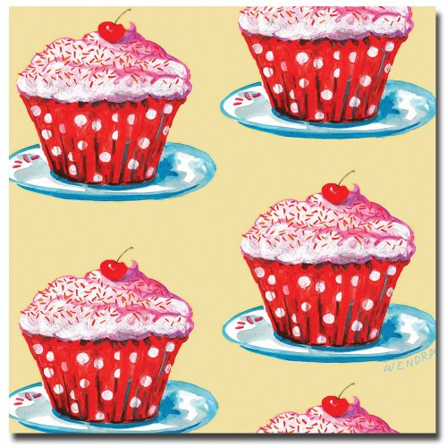 Cherry Cupcakes by Wendra, 14x14-Inch Canvas Wall Art