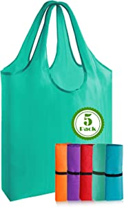 Reusable-Grocery-Shopping-Bags-Foldable-Recyclable-Totes 5 Pack XLarge Machine Washable Folding Gift Cloth Canvas Produce Bags with Handles Waterproof Eco-Friendly Heavy Duty Sturdy Lightweight