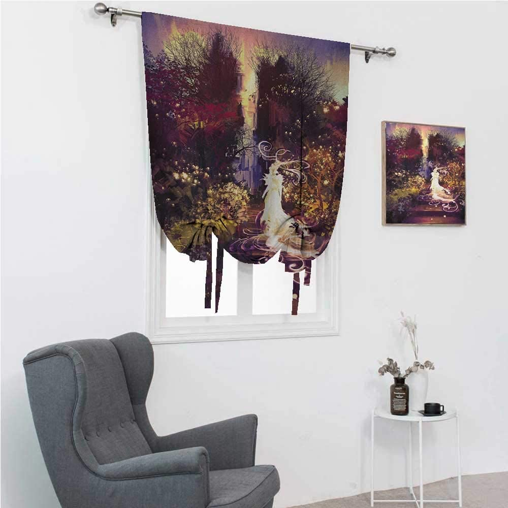 """Roman Shades for Windows Fantasy Tie Up Curtains for Window Surreal Silhouette of Elf Lady Figure on Stair in Garden Expressionist Artwork 39"""" Wide by 64"""" Long Magenta Green"""