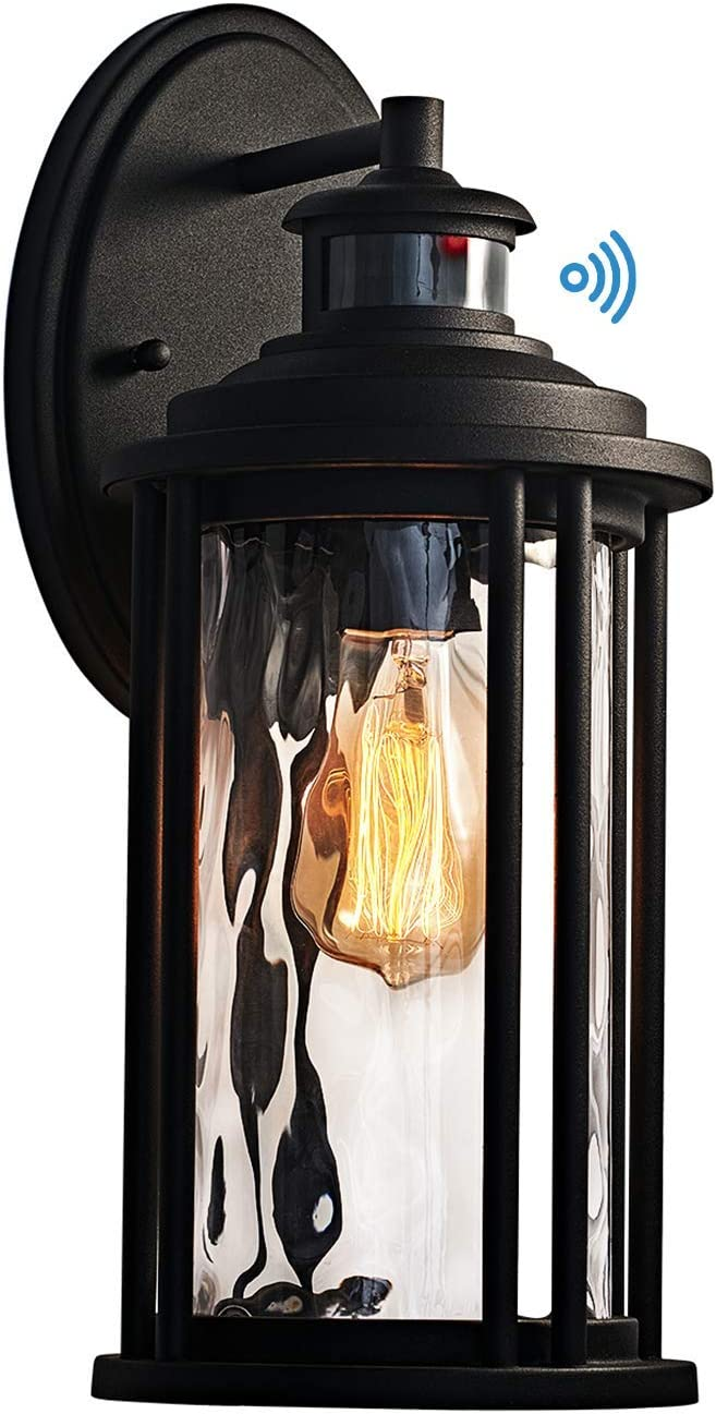 MOTINI 1-Light Outdoor Wall Sconce Lantern with Motion Sensor and Dusk to Dawn 60 W Bulb Included IP23 Waterproof Exterior Light Fixtures Wall Mount in Black Finish with Water Glass Shade
