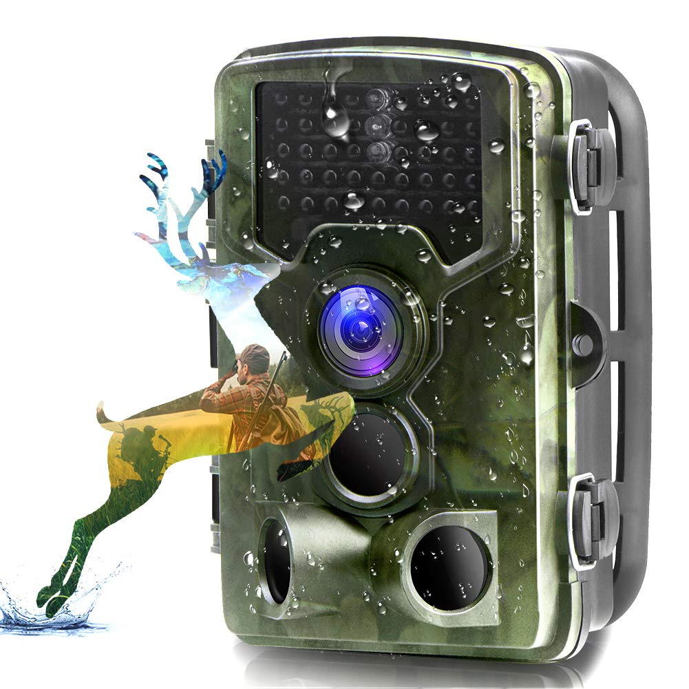Trail Camera, Binrrio 16MP 1080P Game Hunting Camera with 120 Detection Motion Activate Infrared Night Vision Up to 80ft, 0.3s Trigger Updated No Glow 42pcs 850nm LEDs Wildlife Home Garden Camera
