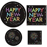 "New Year's Eve Party Supplies Bundle ""Sparkle Party""- Includes 8 Dinner Plates, 8 Dessert Plates, 16 Luncheon Napkins, 16 Beverage Napkins (Serves 8)"
