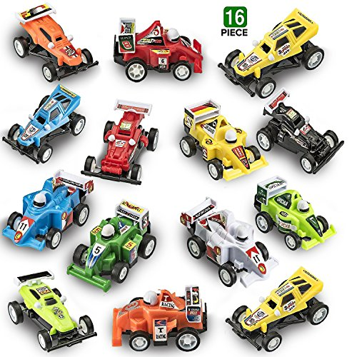 (Prextex 16 pack Kids Racing Car Pull Back and Go Vehicles Great Easter Eggs Fillers or Stocking Stuffers and Toys for Boys Best Pull Back Racing Cars for Toddlers)