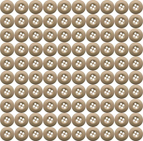 Military BDU Buttons for BDU Pants or BDU Shirts (100 Pack) (Khaki) ()