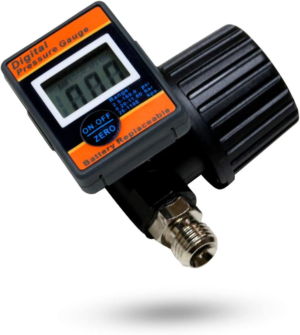 Digital Pressure Gauge | Air Compressor Regulator | Air Pressure Regulator Diaphragm Type by Lematec (DAR02B)