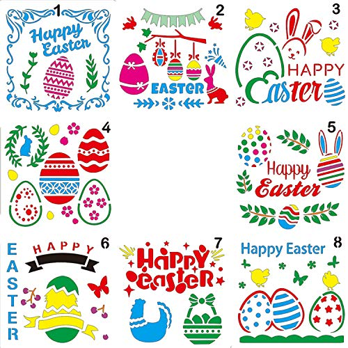 LOCOLO 8 Pcs Happy Easter Stencils Plastic Easter Painting Stencils Template (5 × 5 inches) for DIY Craft, Card Making