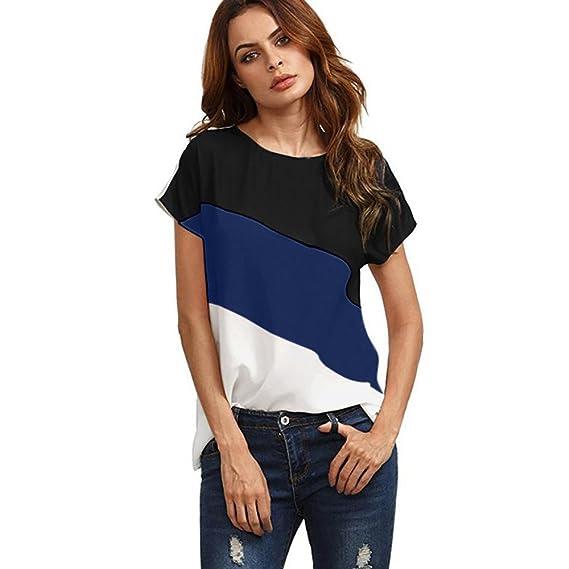 Camisetas de Gasa Mujer❤️️Lonshell Blusa Casual de Bloque de Color Manga Corta de Moda