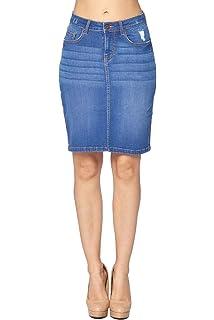 82b627e49251 Blue Age Women's European American Style Junior Fit Basic Denim Short Mini  Jeans Skirt