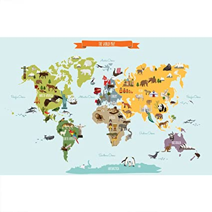 Map Of The World Simple.Childrens World Map Poster Wall Sticker Illustrated World Map Large 70 Wx 45 5 H By Simple Shapes