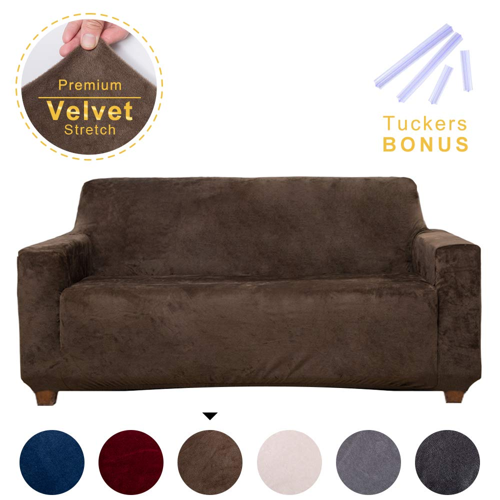 ACOMOPACK Velvet Sofa Cover Stretch Couch Cover for 2 Cushion Couch Cover Sofa Slipcover with Plastic Tuckers and Side Pocket for Living Room Furniture Protector for Dogs(Loveseat, Coffee)