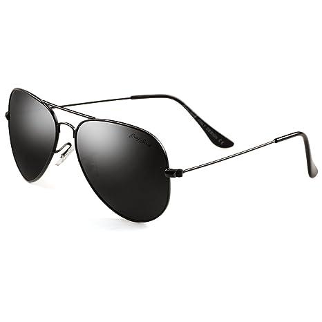 GREY JACK Polarized Classic Aviator Sunglasses Lightweight Style for Men  Women Black Frame Black Lens Medium be039520040