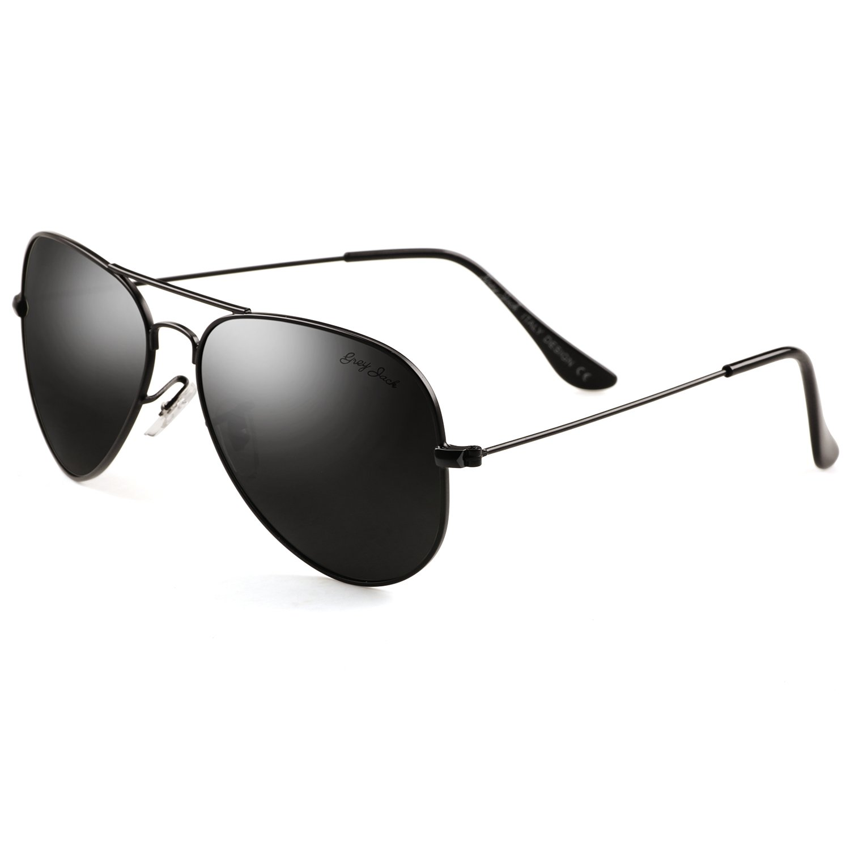 GREY JACK Polarized Classic Aviator Sunglasses Lightweight Style for Men Women Black Frame Black Lens Large