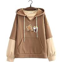 Kawaii Hoodie Sweatshirt Tiener Meisjes Leuke Beer Melk Thee Patch Borduurwerk Pullover Hooded Tops Nep Tweedelig Plus…