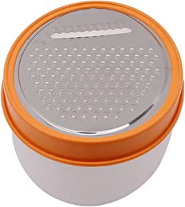 Myhouse Stainless Steel Round Grater Food Vegetable Cheese Slicer With Container Box (Orange Medium Hole)