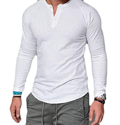 888f65b13db30 Mirror Mens Pure Color Plus Size Long Sleeve Modern Tunic Tops Shirts
