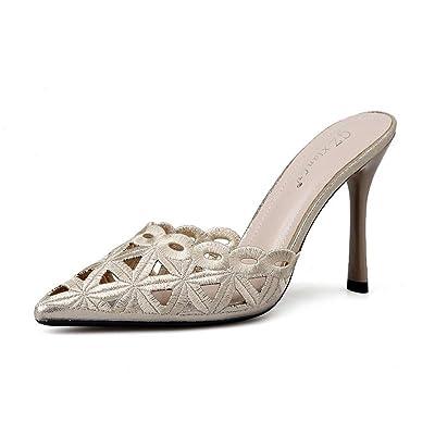 DANDANJIE Femmes Chaussures Confort estival Sabots & Mules Sandales Talon stiletto Bout pointu Bout fermé Fermeture éclair pour Beige Noir