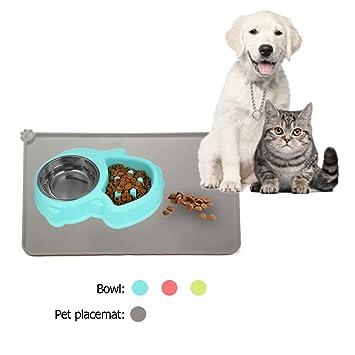 Comedero Perro Comedero Para Animales Pequeños Medium Gran Mascota Perro Gato Comer Alimentos et Alfombrilla Comida Perros Gris Rectángulo Set Comedero Oval ...