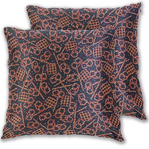 Gaz X Pretzel Velvet Soft Decorative Square Throw Pillow Covers Set Cushion Case for Sofa Bedroom Car 16 x 16 inch Set of -