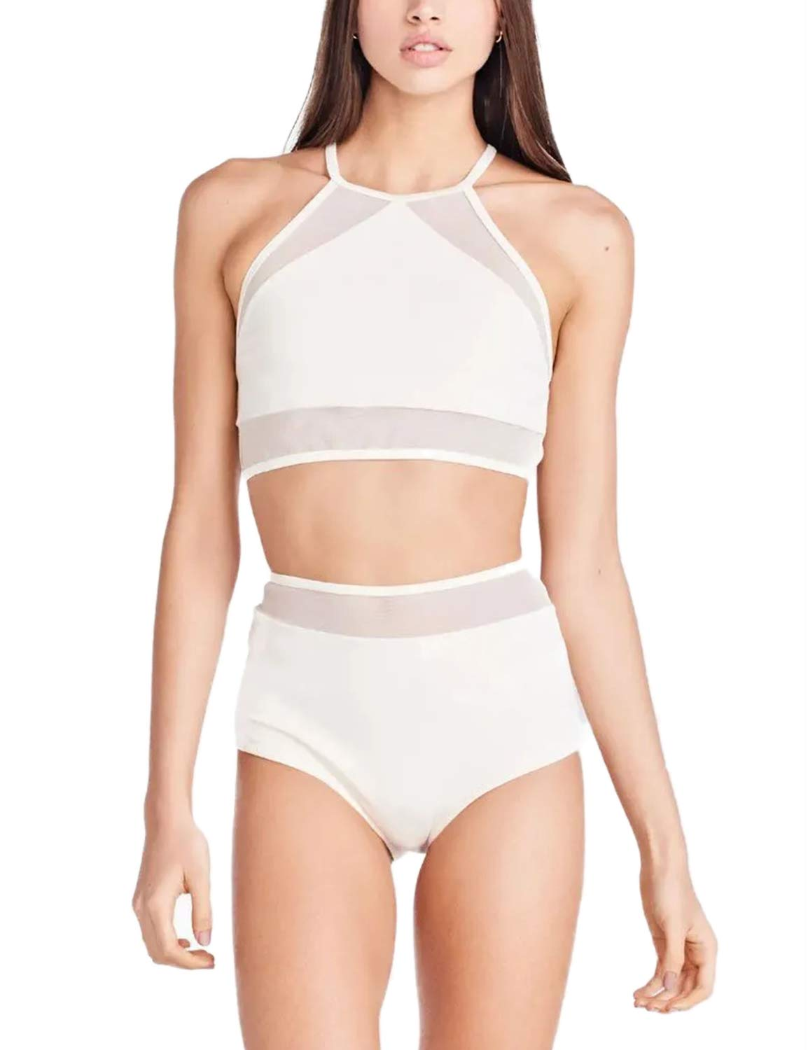 Women's High Waisted Bikini Mesh Patchwork Crop Top Swimsuit White