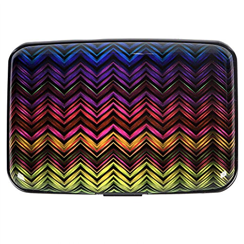 Vichline Aluminum RFID Blocking Slim Metal Wallet Credit Card Holder for Men Women (Multicolor wave)