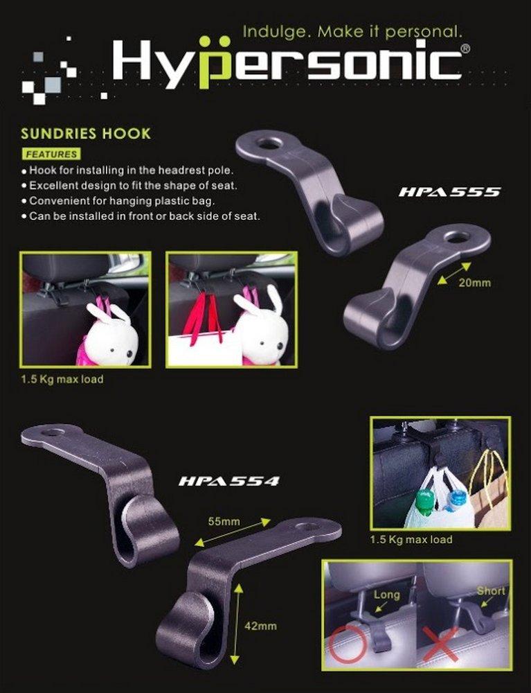 oder R/ückseite der Kopfst/ütze Sundries Hook Hypersonic/® HPA554 Praktische Universelle Halterungen Haken Taschenhalter zur Installation auf Vorder f/ür alle Kopfst/ützstangen 8-12,5 mm geeignet