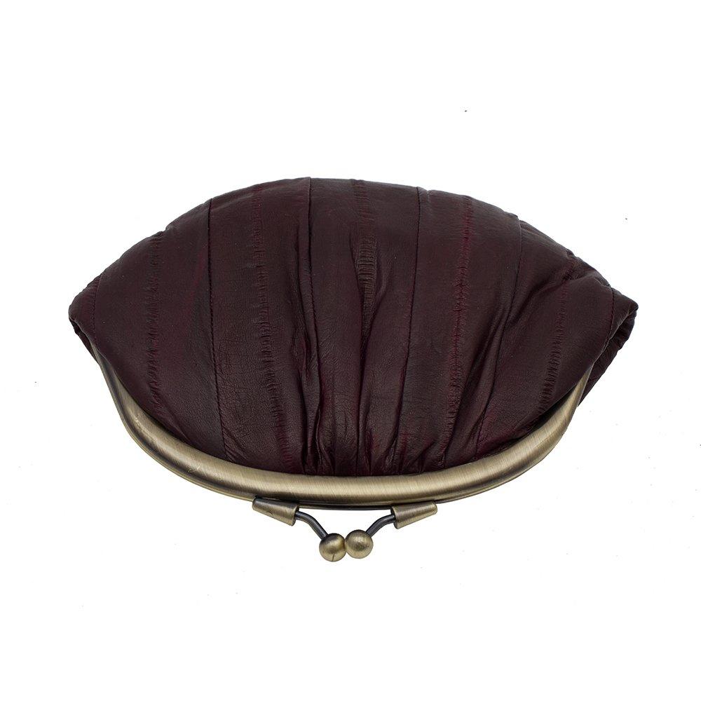 Becksöndergaard - Monedero de Mujer Abuelita en berenjena (fudge)  en clásico Forma de 100% Piel de anguila 18x13 cm grande - 11001-169