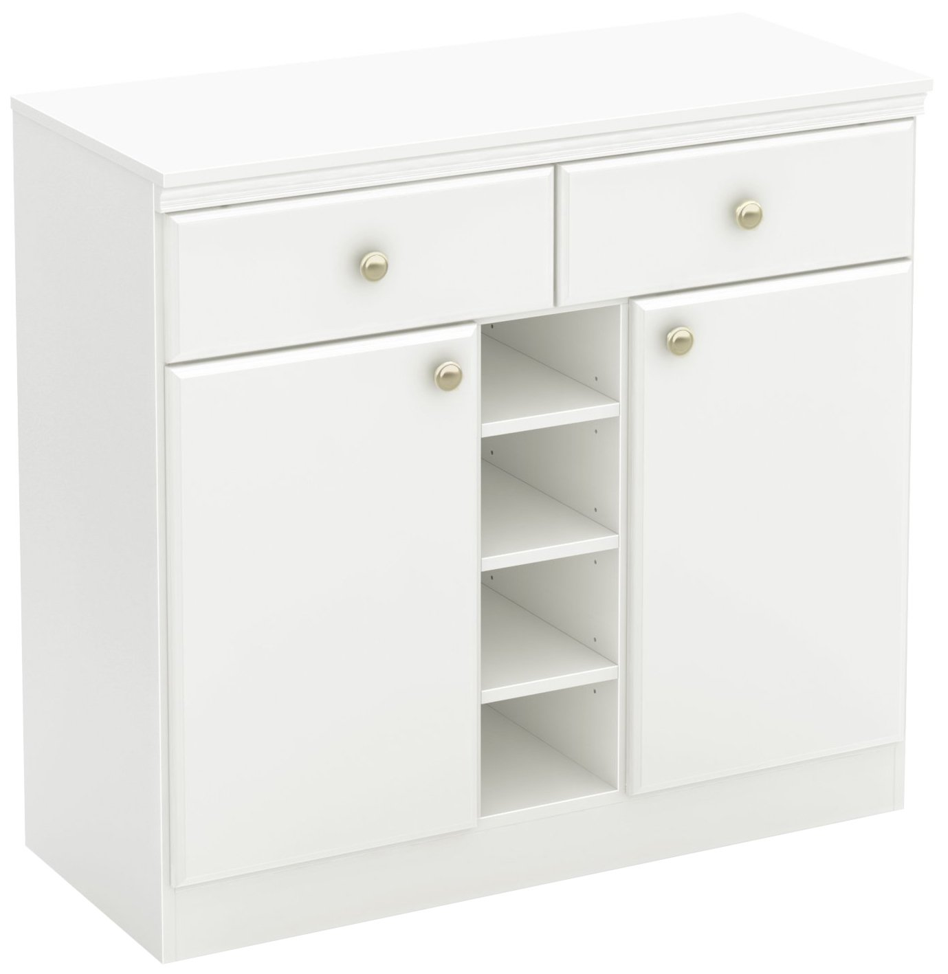 South Shore 7260770 2-Door Storage Sideboard with Drawers, Pure White