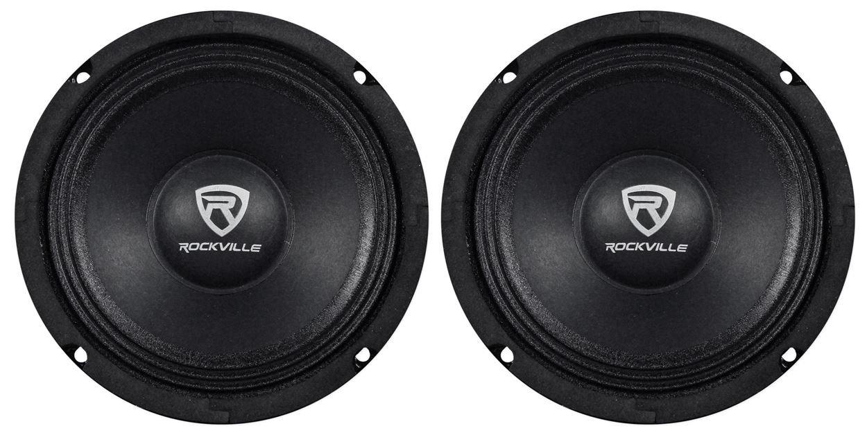 (2) Rockville RM64PRO 6.5'' 400 Watt 4 Ohm SPL Mid-Bass Midrange Car Speakers