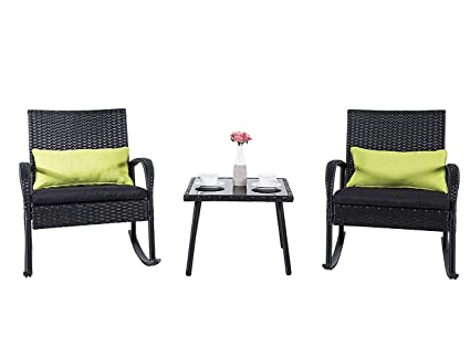 Wicker Rocking Chairs Outdoors 3 Piece Set Bistro Patio Rattan Furniture  Two Chairs With Tempered Glass