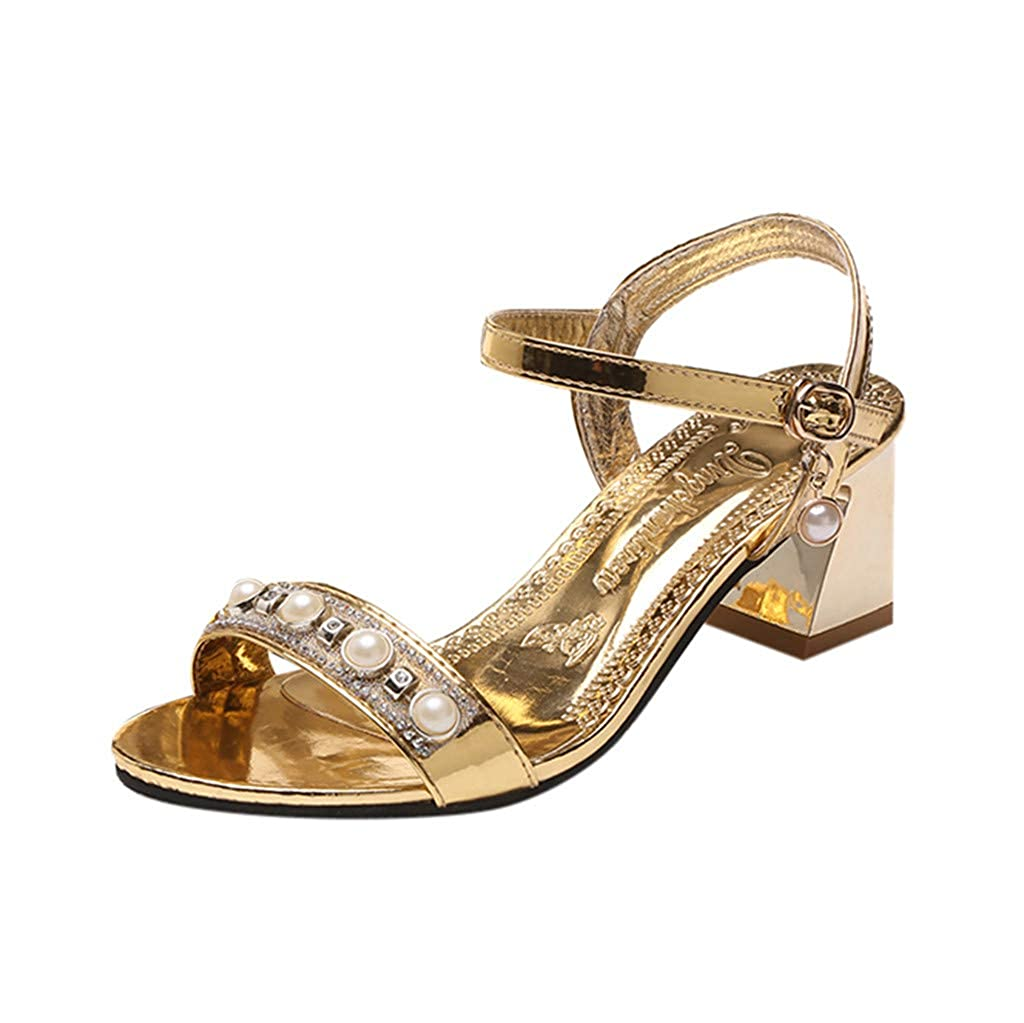Wide Width Sandals with Heels for Women Ladies Summer Belt Buckle Rhinestone Sandals Female Roman Shoes