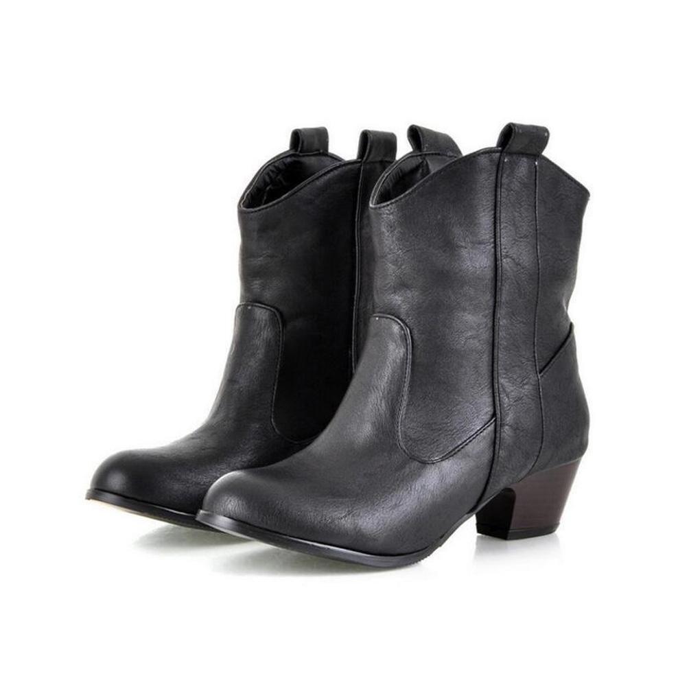 CYMIU CYMIU CYMIU Rough Mid Heel Kurze Stiefel Western Heel Ankle Stiefel Damen Damen Winter Größe Code Leder Nähte Rutschfeste 3233404142434445 3dbcfb