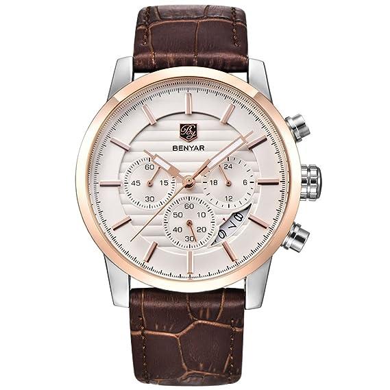 BENYAR Reloj de pulsera de cuarzo para hombres con cronógrafo, resistente al agua, diseño de negocios y deporte, correa de piel.: Amazon.es: Relojes
