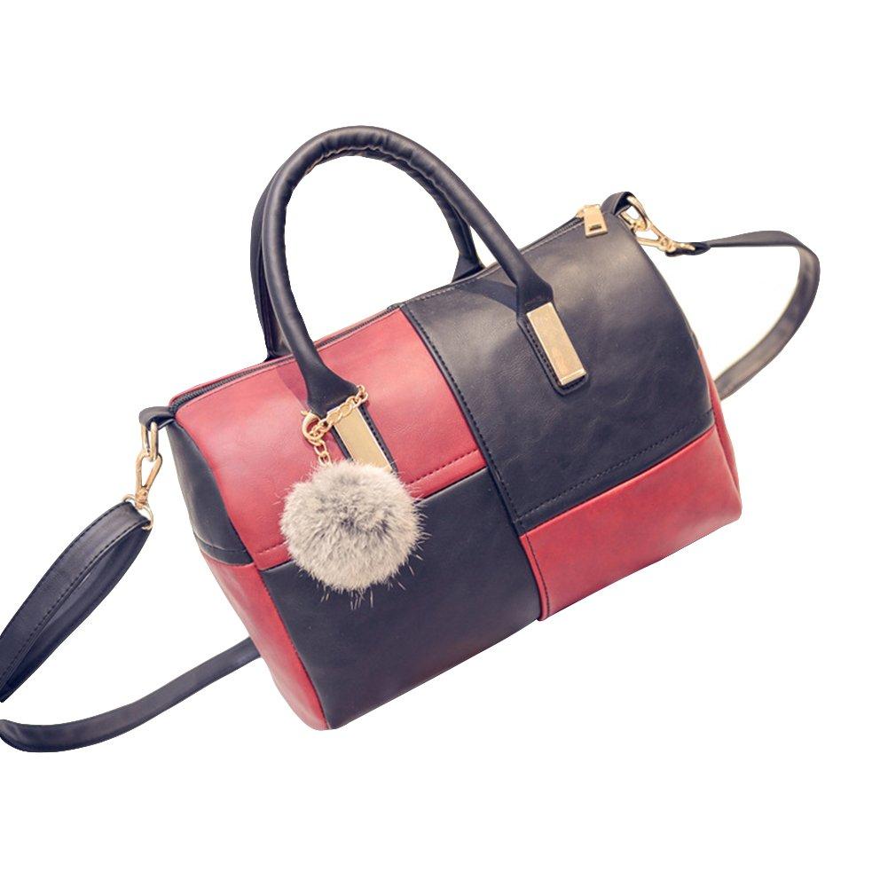 EUNOMIA Women Boston Style Large Capacity Faux Leather Color Block Shoulder Bag Handbag (Black + Red)