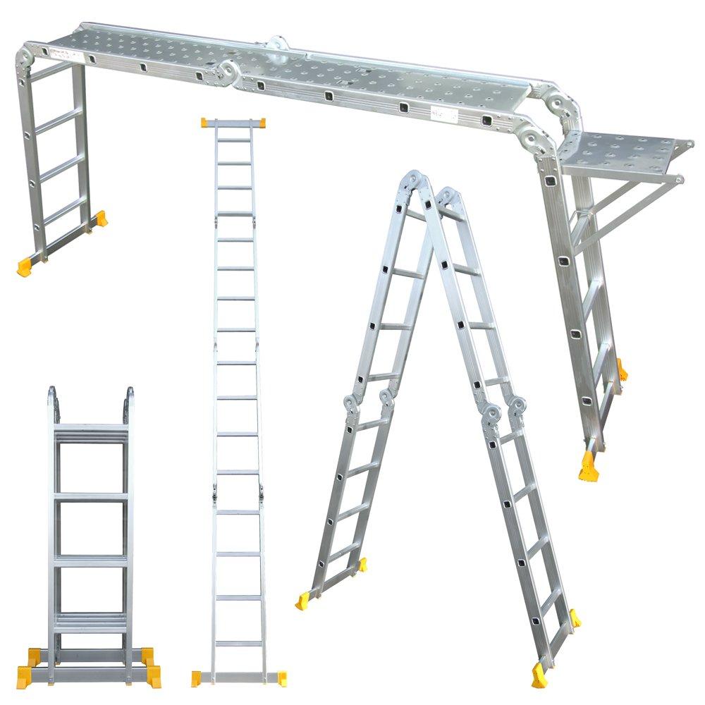 Abbey Aluminium Multi-Purpose Ladder 4.7m With New Safety Platform Abbey Ladders MPL47