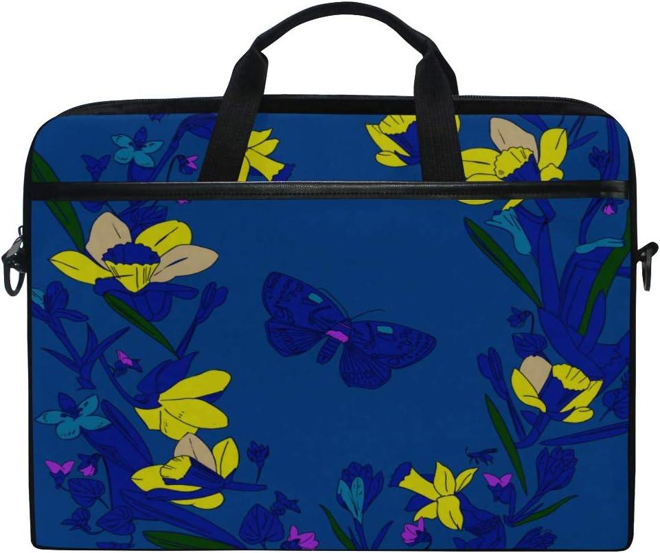 College Students Business People Office Briefcase Messenger Shoulder Bag for Men Women Laptop Bag Spring Flowers Daffodils 15-15.4 Inch Laptop Case